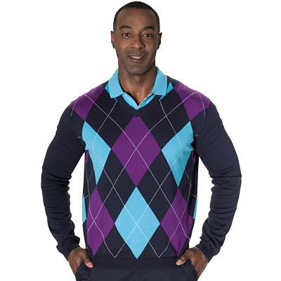 Men's Argyle Sweater   V Neck Argyle Jumper