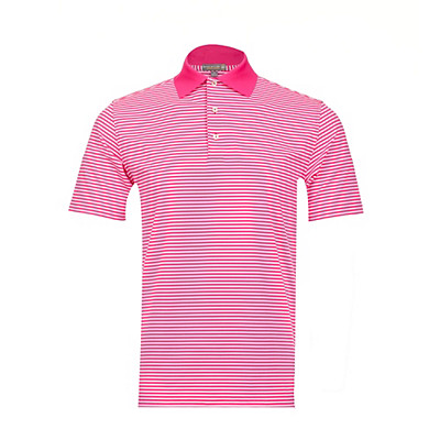 Men's Peter Millar Competition Stripe Stretch Jersey Knit Collar Golf Polo